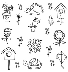 Hand draw spring of doodles vector image