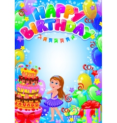 Happy birthday girl card with place for text vector image