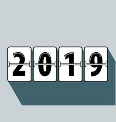 Happy new year 2019 flip clock style vector