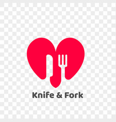 Heart logo knife and fork healthy food icon vector