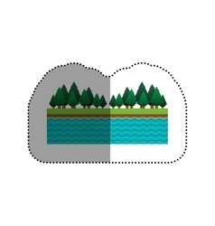 Isolated lake and pine tree design vector image
