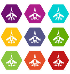 jet fighter plane icon set color hexahedron vector image