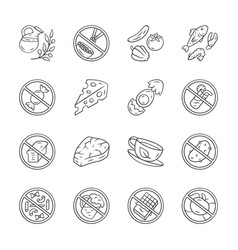 Keto diet linear icons set low carbs and high vector