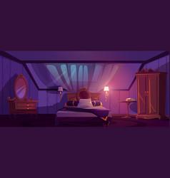 Luxury bedroom interior on attic at night vector