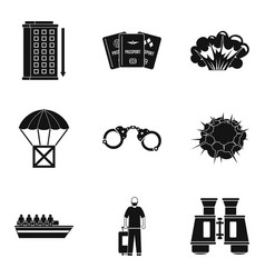 Malefactor icons set simple style vector