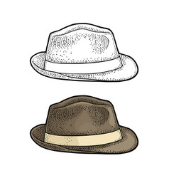 man hat with ribbon vintage engraving vector image