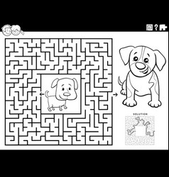 Maze game with puppies coloring book page vector