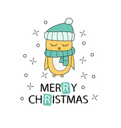 Merry christmas greeting card with yellow chicken vector