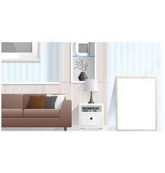 mock up poster frame in living room vector image