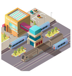 Modern train station building isometric vector