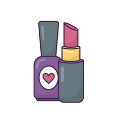 nail polish and lipstick makeup icon on white vector image