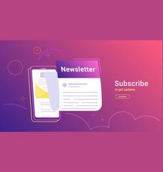 Newsletter subcription online in mobile app vector