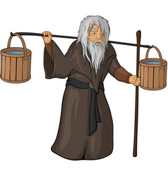 Old man with beam vector