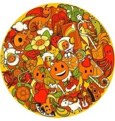 Orange doodle background vector image