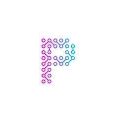 P circuit technology letter and number logo icon vector