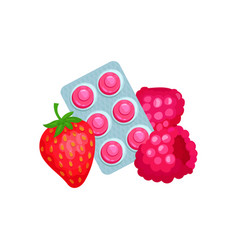 package of lozenges with strawberry and raspberry vector image