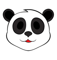 panda bear head icon cartoon vector image