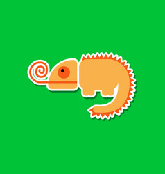 Paper sticker on stylish background chameleon vector