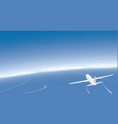 Plane flying over the ocean and banner background vector