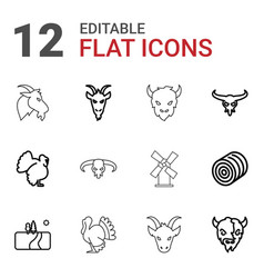 rural icons vector image