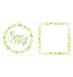 save the date in green on white and square frame vector image