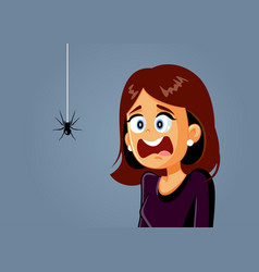 Scared woman being afraid a spider cartoon vector