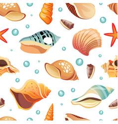 Sea shells seamless pattern summertime design vector