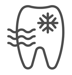 Sensitive tooth line icon tooth and snowflake vector