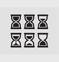 Set hourglass flat design sand glass icons time vector
