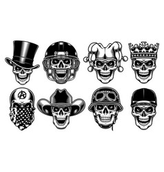 Set of skull characters on white background vector