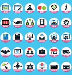 Set pixel internet marketing service icons vector