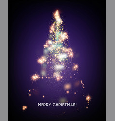 shining christmas tree light star background vector image