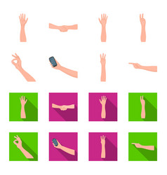 Sign language cartoonflat icons in set collection vector