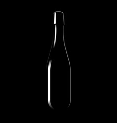 Silhouette of a glass bottle of sparkling wine vector