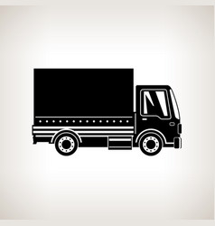 Silhouette small covered truck isolated vector