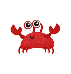 Smiling red crab with small claws and big shiny vector