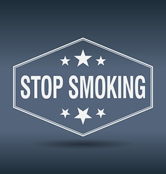 Stop smoking hexagonal white vintage retro style vector