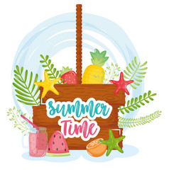 summer time poster with wooden label and icons vector image