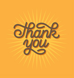 thank you hand drawn lettering in retro style vector image