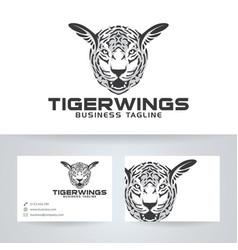 Tiger wings logo design vector