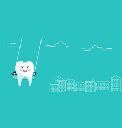 Tooth swinging on a swing over roofs houses vector