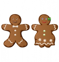 two gingerbread cookies vector image