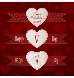 Valentines day hearts signs with ribbons set vector