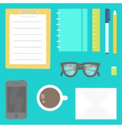 View from the top Stationery phone glasses etc vector image