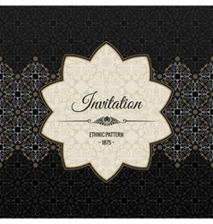 Vintage islamic ornate card Black vector image