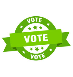vote ribbon vote round green sign vote vector image