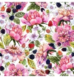 Watercolor peony and berry pattern vector