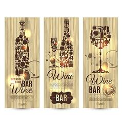 Wine bar menu cardBanners set on wood vector