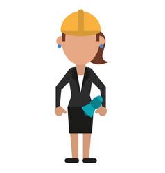 Woman with megaphone work helmet vector