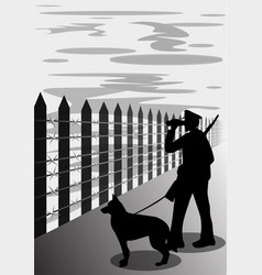 border guard with dog silhouette vector image